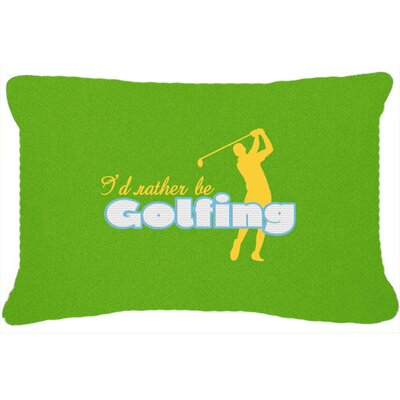 ID Rather Be Golfing Man on Green Indoor/Outdoor Throw Pillow