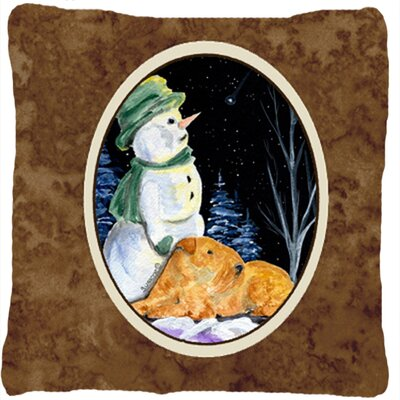 Snowman with Welsh Terrier Indoor/Outdoor Throw Pillow