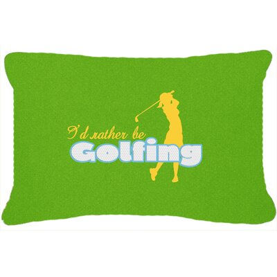 ID Rather Be Golfing Woman on Green Indoor/Outdoor Throw Pillow