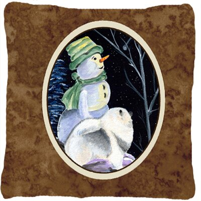 Snowman with Keeshond Indoor/Outdoor Throw Pillow