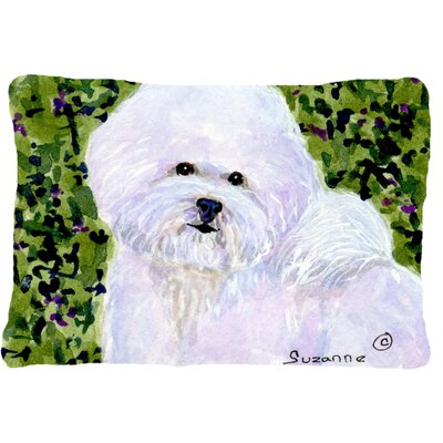 Bichon Frise Indoor/Outdoor Green/WhiteThrow Pillow