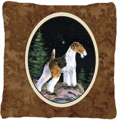 Starry Night Fox Terrier Indoor/Outdoor Throw Pillow