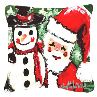 Friends Snowman and Santa Claus Indoor/Outdoor Throw Pillow Size: 14 H x 14 W x 4 D