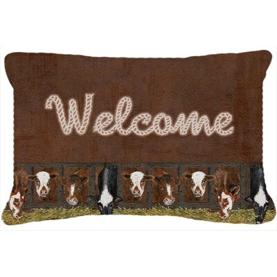 Welcome Mat with Cows Indoor/Outdoor Throw Pillow