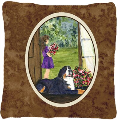 Little Girl with Her Bernese Mountain Dog Indoor/Outdoor Throw Pillow