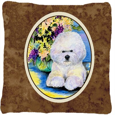 Bichon Frise and Flower Indoor/Outdoor Throw Pillow
