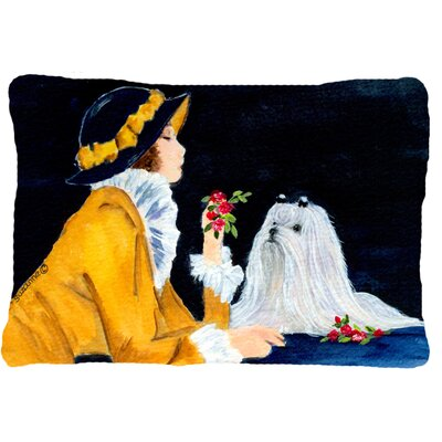 Lady with Her Maltese Indoor/Outdoor Throw Pillow