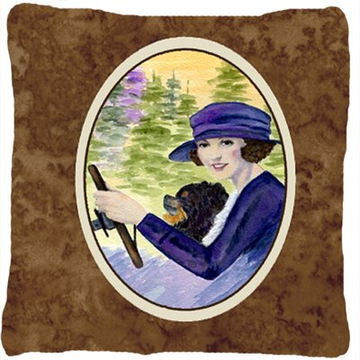 Lady Driving with Her Pomeranian Indoor/Outdoor Throw Pillow