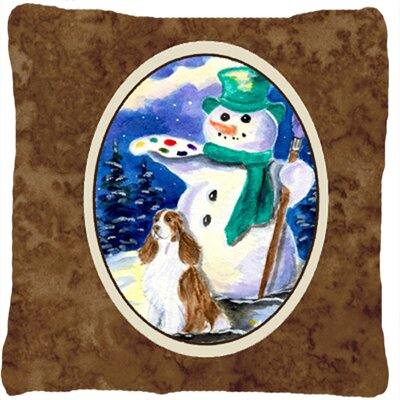 Artist Snowman with Springer Spaniel Indoor/Outdoor Throw Pillow