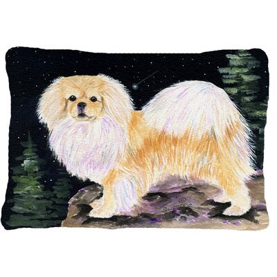 Starry Night Tibetan Spaniel Indoor/Outdoor Throw Pillow
