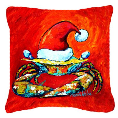 Crab in Santa Hat Santa Claws Indoor/Outdoor Throw Pillow Size: 14 H x 14 W x 4 D