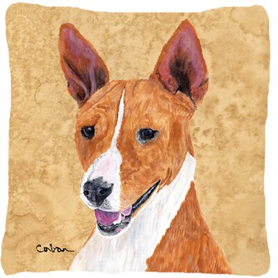 Basenji Indoor/Outdoor Beige Throw Pillow