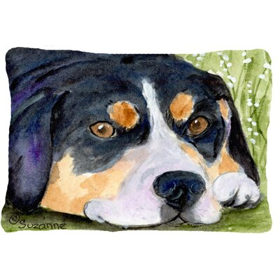 Entlebucher Mountain Dog Indoor/Outdoor Black Throw Pillow