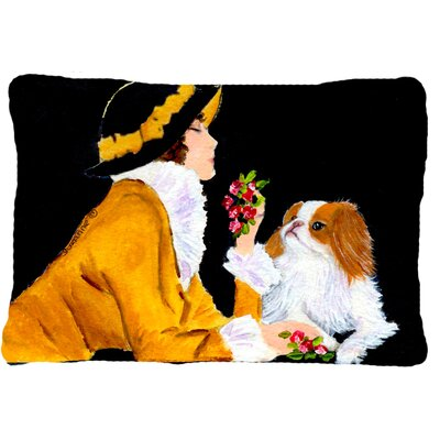Lady with Her Japanese Chin Indoor/Outdoor Throw Pillow