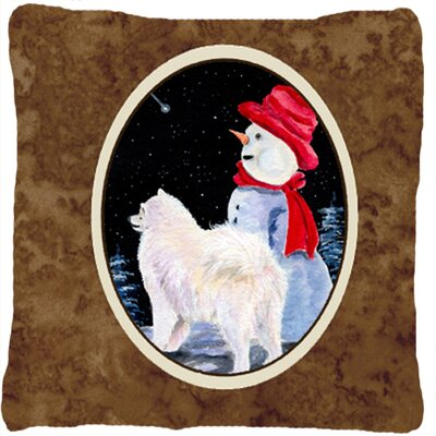 Samoyed and SnowmanIndoor/Outdoor Throw Pillow
