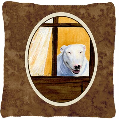 Bull Terrier Indoor/Outdoor Brown Throw Pillow