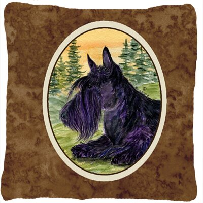 Scottish Terrier Indoor/Outdoor Square Brown Throw Pillow