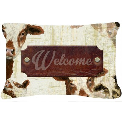 Welcome Cow Indoor/Outdoor Throw Pillow