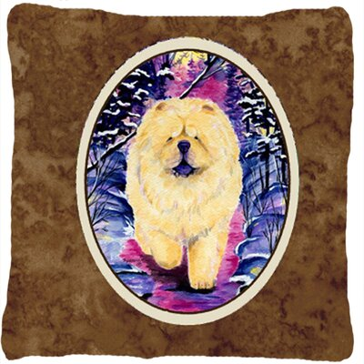 Chow Chow Indoor/Outdoor Brown Throw Pillow