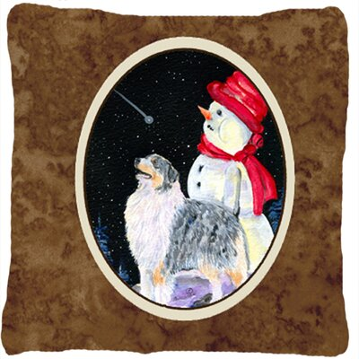 Australian Shepherd and Snowman Indoor/Outdoor Throw Pillow