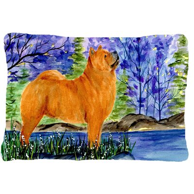 Chow Chow Blue/Brown Indoor/Outdoor Throw Pillow
