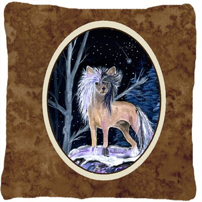 Starry Night Chinese Crested Indoor/Outdoor Throw Pillow