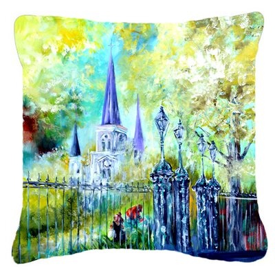 Across The Square St Louis Cathedral Indoor/Outdoor Throw Pillow Size: 18 H x 18 W x 5.5 D