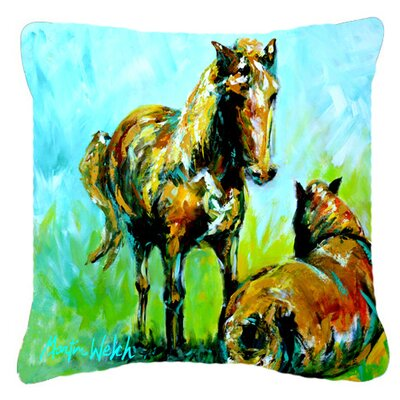 Horse Square Indoor/Outdoor Throw Pillow Size: 14 H x 14 W x 4 D