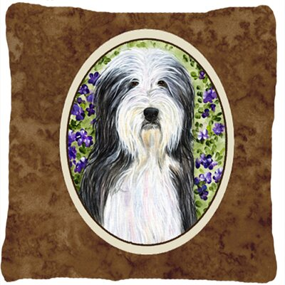 Bearded Collie Square Brown Indoor/Outdoor Throw Pillow