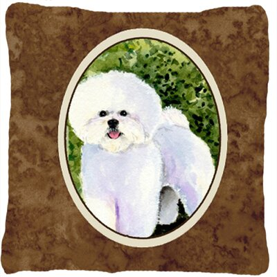 Bichon Frise Indoor/Outdoor Graphic Print Brown Throw Pillow