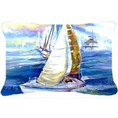 Rock My Boat Sailboats Indoor/Outdoor Throw Pillow