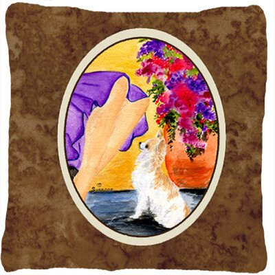Lady with Her Chihuahua Indoor/Outdoor Throw Pillow