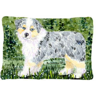 Australian Shepherd Indoor/Outdoor Gray/Green Throw Pillow