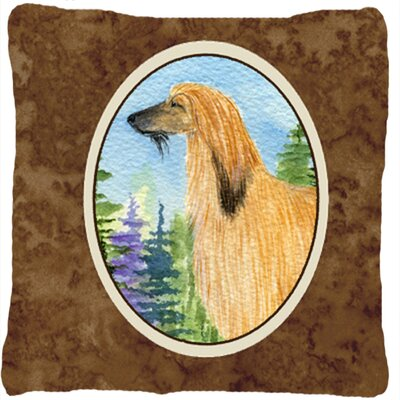 Afghan Hound Brown/Yellow Indoor/Outdoor Throw Pillow