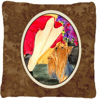 Lady with Her Yorkie Indoor/Outdoor Throw Pillow