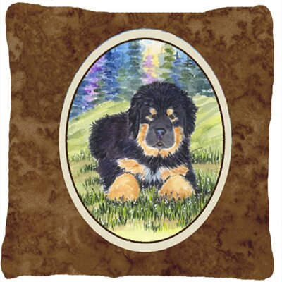 Tibetan Mastiff Modern Indoor/Outdoor Brown Throw Pillow