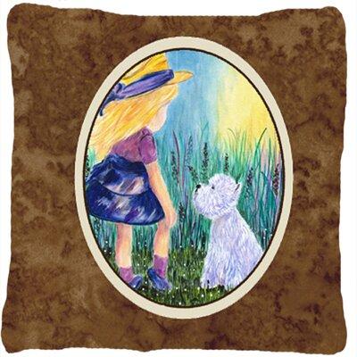 Little Girl with Westie Indoor/Outdoor Throw Pillow