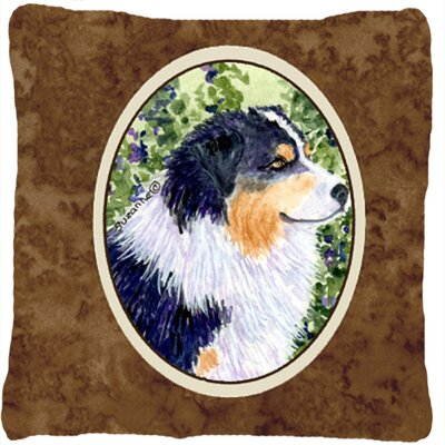 Australian Shepherd Indoor/Outdoor Square Brown Throw Pillow