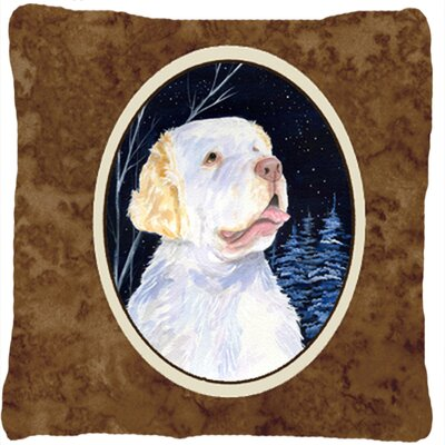 Starry Night Clumber Spaniel Indoor/Outdoor Throw Pillow