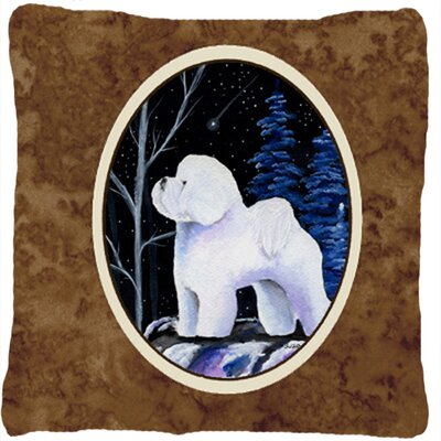 Starry Night Bichon Frise Indoor/Outdoor Throw Pillow