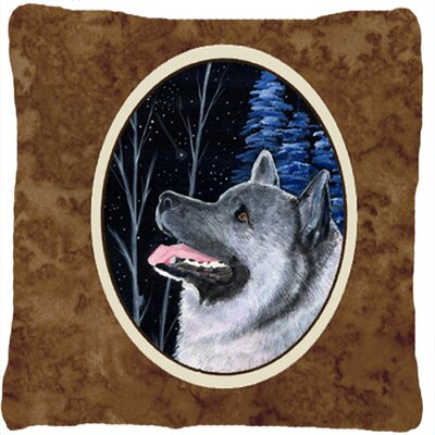 Starry Night Norwegian Elkhound Indoor/Outdoor Throw Pillow