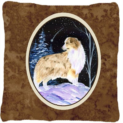 Starry Night Australian Shepherd Indoor/Outdoor Throw Pillow