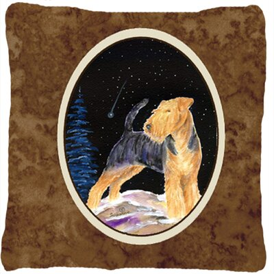 Starry Night Welsh Terrier Indoor/Outdoor Throw Pillow