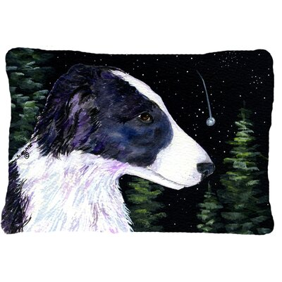Starry Night Border Collie Indoor/Outdoor Throw Pillow