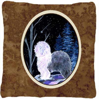 Starry Night Old English Sheepdog Indoor/Outdoor Throw Pillow