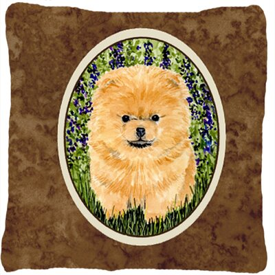 Pomeranian Indoor/Outdoor Brown Throw Pillow
