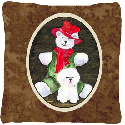 Bichon Frise and Teddy Bear Indoor/Outdoor Throw Pillow