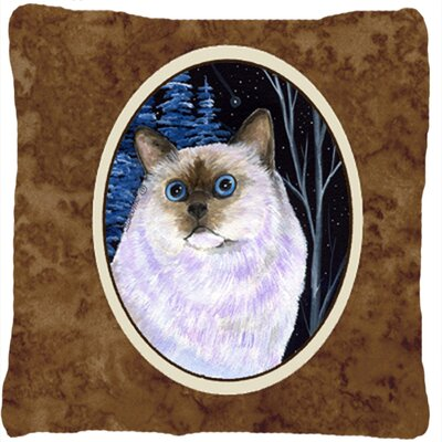 Starry Night Cat Birman Indoor/Outdoor Throw Pillow