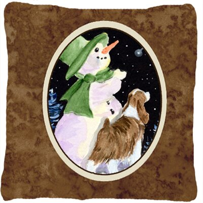 Snowman with Springer Spaniel Indoor/Outdoor Throw Pillow