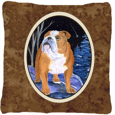 Starry Night English Bulldog Indoor/Outdoor Throw Pillow